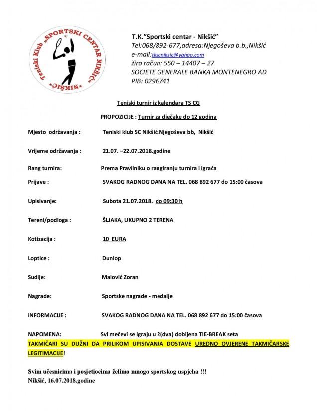 SC Niksic-turnir za tenisere do 12 godina 21.07.2018.
